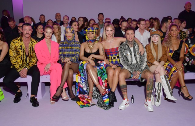 Luke Evans, Rosie Huntington-Whiteley, Rita Ora, Nicki Minaj, Chiara Ferragni, Fedez, Sabrina Carpenter and Leona Lewis in the front rowVersace show, Front Row, Spring Summer 2019, Milan Fashion Week, Italy - 21 Sep 2018