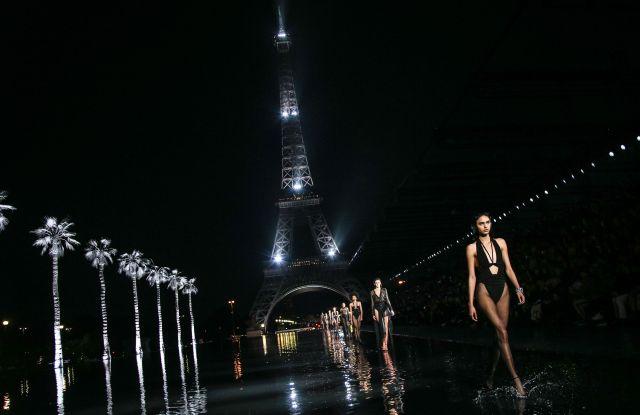 Model on the catwalkSaint Laurent show, Runway, Spring Summer 2019, Paris Fashion Week, France - 25 Sep 2018