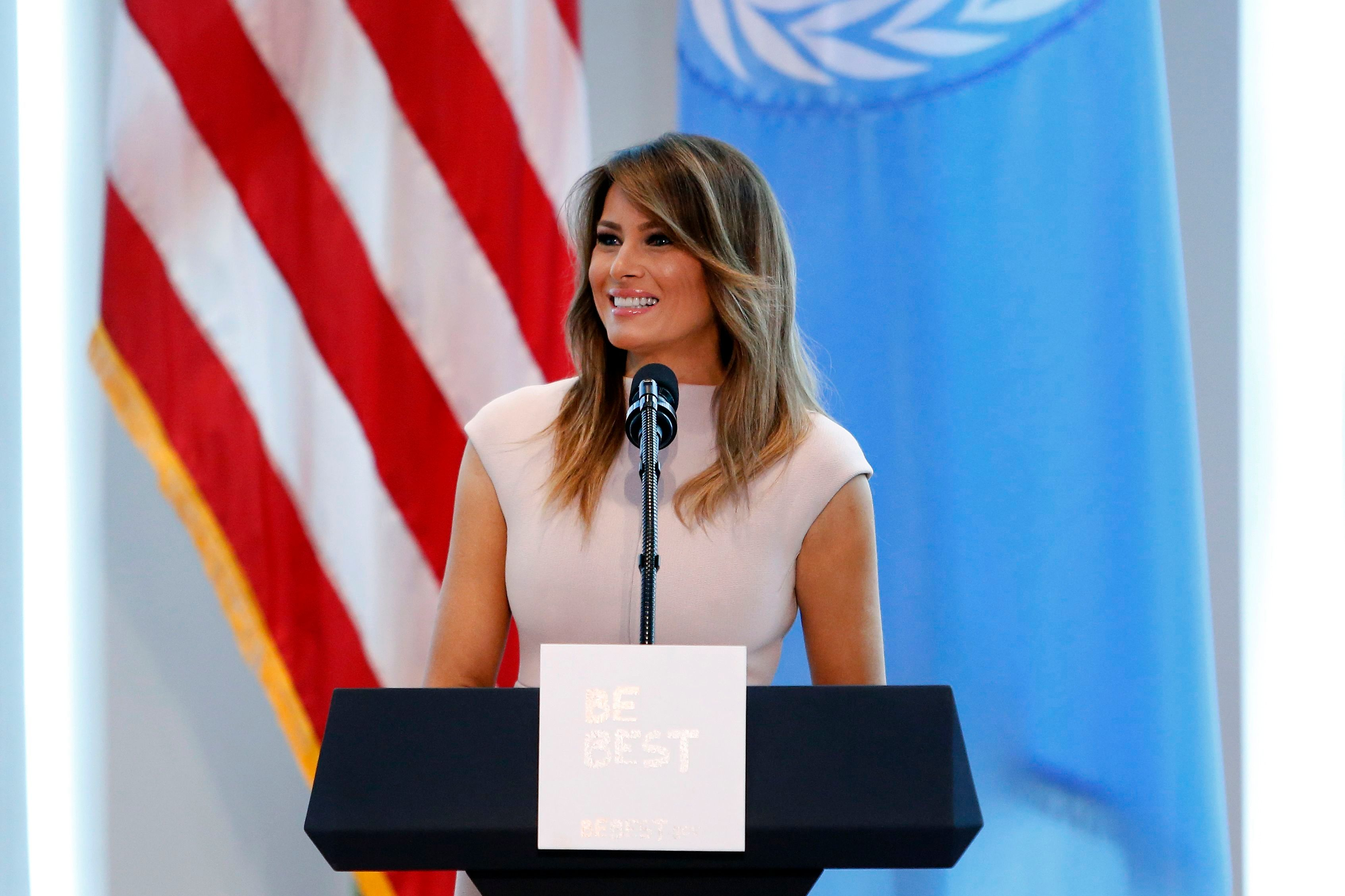 First lady Melania Trump speaks during a reception at the United States mission to the United Nations.