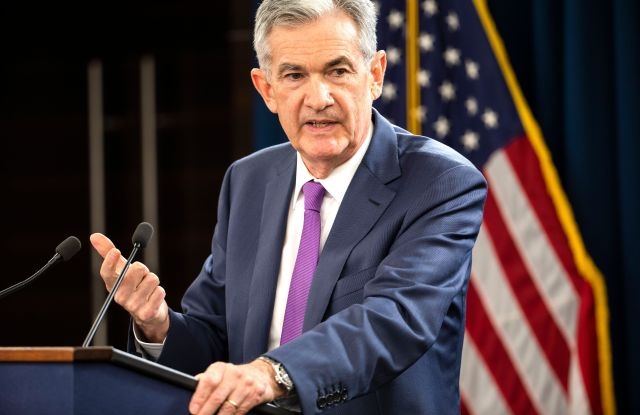 Federal Reserve Board Chairman Jerome Powell announces the Fed is raising interest rates at a news conference after a Federal Open Market Committee meeting in Washington, DC, USA, 26 September 2018. The Feds raised their benchmark interest rate by a quarter point.Powell announces Fed raising interest rates, Washington, USA - 26 Sep 2018