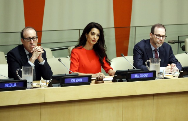 From Left, Joel Simon, Amal Clooney and Stephen J. Adler at the United Nations for a discussion on the detainment of journalists worldwide.