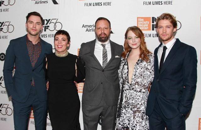 Nicholas Hoult, Olivia Colman, Yorgos Lanthimos, Emma Stone and Joe Alwyn.