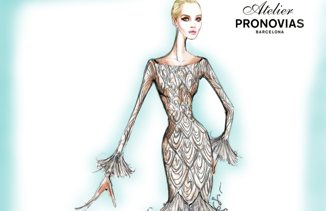 A sketch of Rocky Barnes' Atelier Pronovias dress for her wedding reception.