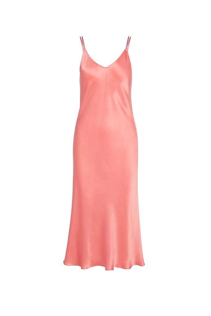 The Celeste silk slip dress in salmon by Catherine Gee