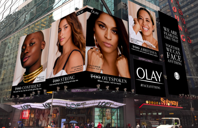 Olay's Face Anything ads in Times Square.