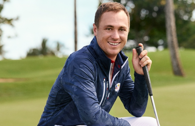 Justin Thomas in a look from the Ryder Cup collection.