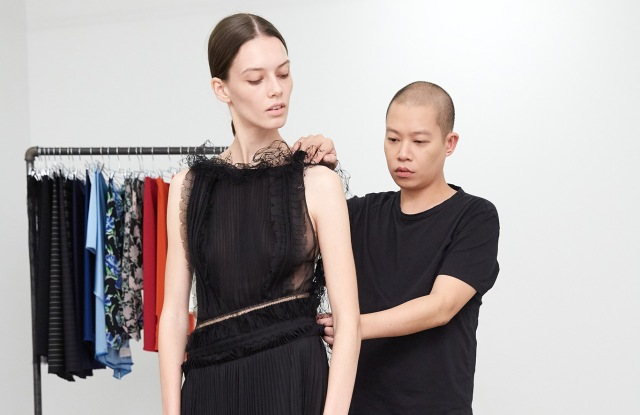 Jason Wu and model with look from Spring 2019 RTW.