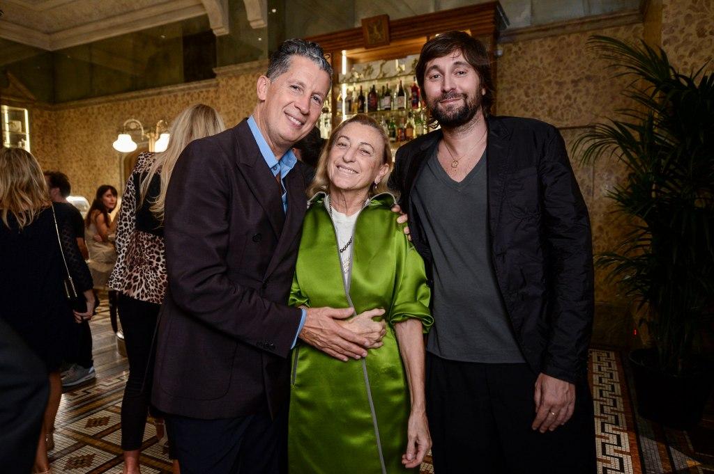 Stefano Tonchi, Miuccia Prada and Francesco Vezzoli at the W Magazine cocktail party during Milan fashion week.