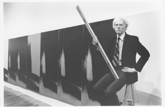 "Andy Warhol with ""Shadows."""