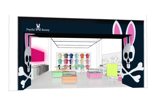 A rendering of the Psycho Bunny store in Miami.