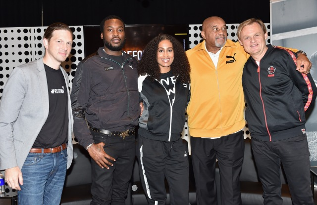 ATLANTA, GA - OCTOBER 06:  (L-R) Adam Petrick, Meek Mill, Skylar Diggins-Smith, Tommie Smith and Bjorn Gulden attend the PUMA #Reform To Drive Social Change launch at Atlanta History Center on October 6, 2018 in Atlanta, Georgia.  (Photo by Moses Robinson/Getty Images for PUMA)