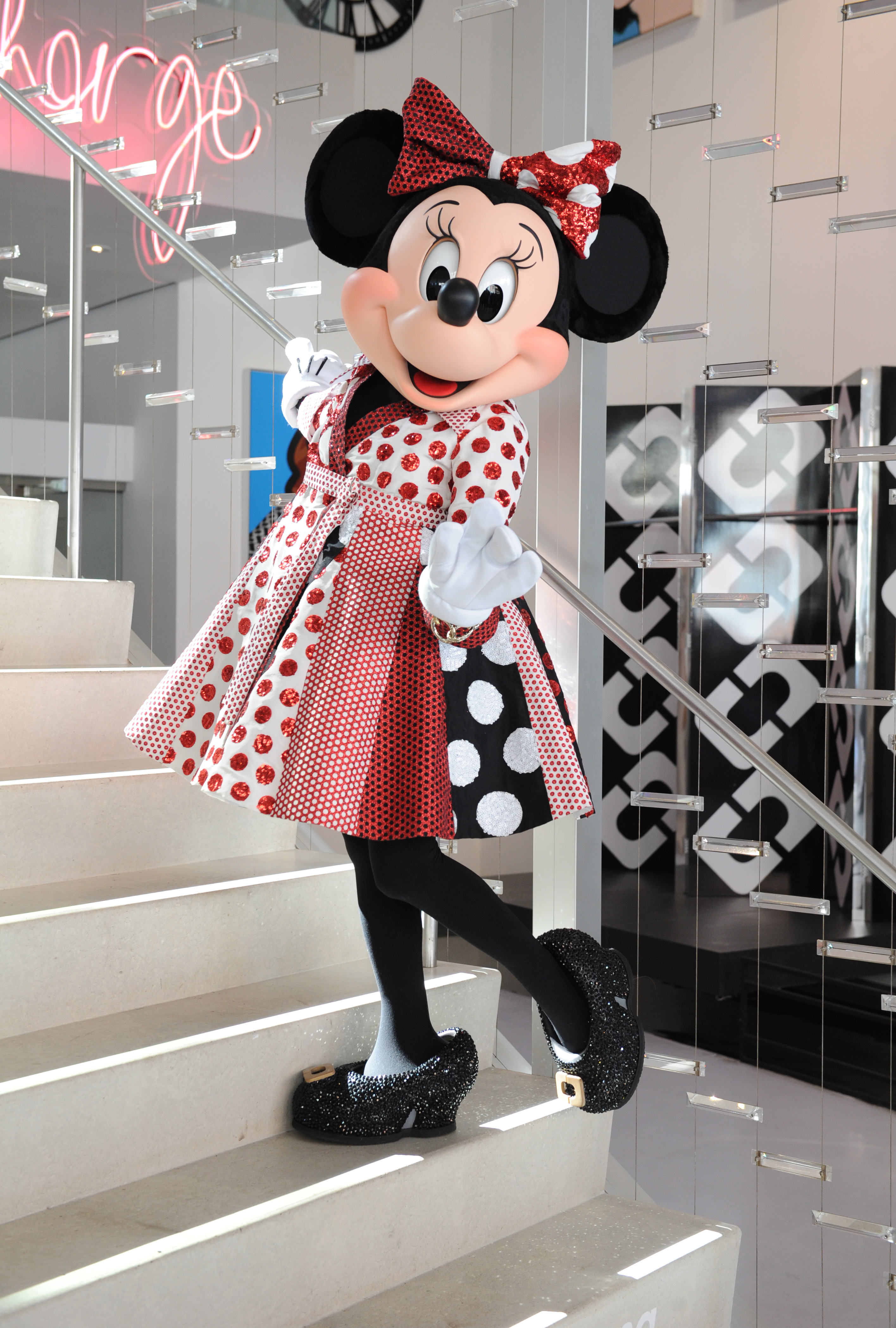 NEW YORK, NY - OCTOBER 17: Minnie Mouse in custom Diane von Furstenberg wrap dress at the Diane von Furstenberg studio on October 17, 2018 in New York City. (Photo by Craig Barritt/Getty Images for The Walt Disney Company)