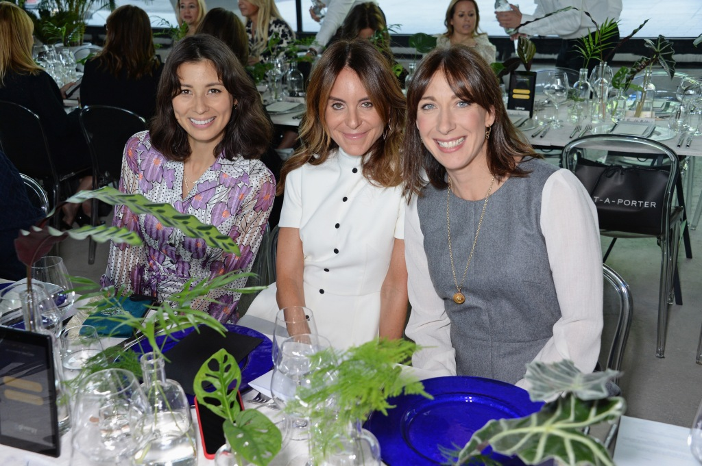 LONDON, ENGLAND - OCTOBER 01: (L to R) Jasmine Hemsley, Alison Loehnis and Samantha Cameron attend a champagne reception lunch and auction in support of the Make-A-Wish Foundation, hosted by Alison Loehnis, President of NET-A-PORTER and MR PORTER, together with Batia Ofer, Chair of The Art of Wishes and a Make-A-Wish patron, at Centrepoint on October 1, 2018 in London, England. Pic Credit: Dave Benett *** Local Caption *** Jasmine Hemsley; Alison Loehnis; Samantha Cameron