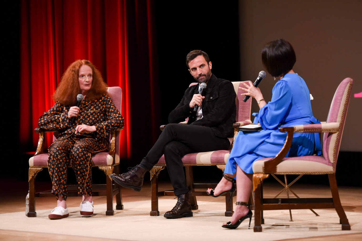 Grace Coddington, Nicolas Ghesquiere and Alina Cho at The Met.