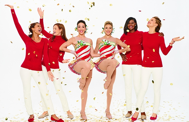 The Radio City Rockettes, including four dancers decked out in Talbots attire.