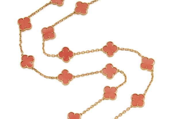A gold and coral 'Alhambra' necklace by Van Cleef & Arpels, sold by Sotheby's for $68,750 while estimated at $15,000 to $20,000.