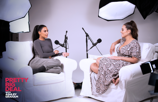 Ashely Graham talking with Kim Kardashian West for her new Podcast series.