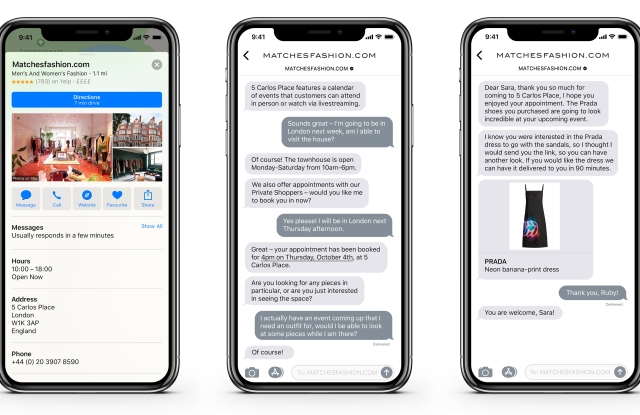 Apple Business Chat comes to Matchesfashion.com, among others.