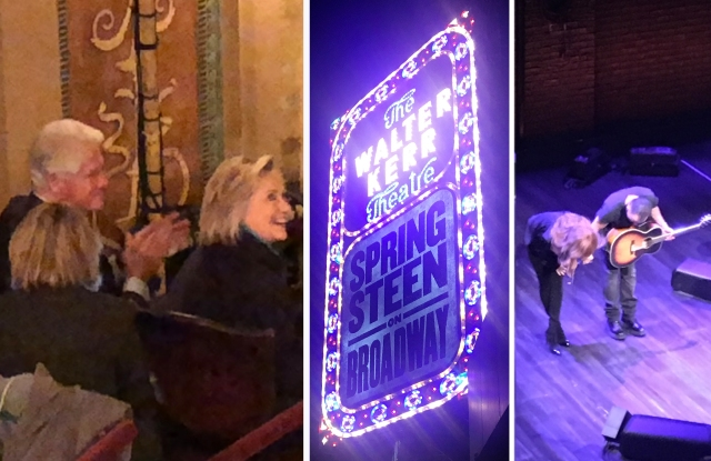 """Bill and Hillary Clinton attend """"Springsteen on Broadway"""" at The Walter Kerr Theater;  The Boss and wife Patti Scialfa, who does backup vocals on two songs, take a bow."""