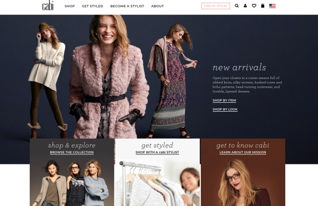 The homepage from Cabi's new web site.