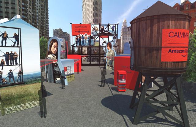 A rendering of the Calvin Klein x Amazon Fashion NYC Market.