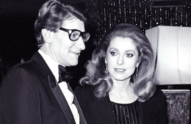 Yves Saint Laurent and Catherine Deneuve at the couture house's 20th birthday on Jan. 29 1982