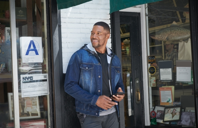Michael Strahan in a look from his new denim collection.