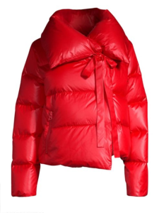 "Bacon's red ""Puffa"" jacket created for Saks Fifth Avenue."