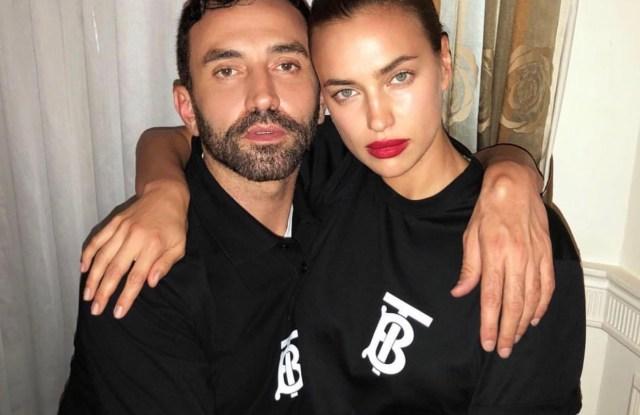 Irina Shayk and Riccardo Tisci wearing the Burberry TB monogram t-shirt