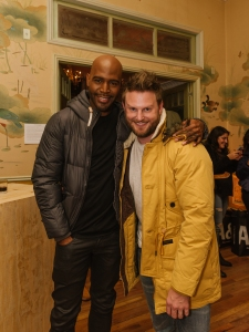 Queer Eye's Karamo Brown and Bobby Berk stop by the A&F puffer event.