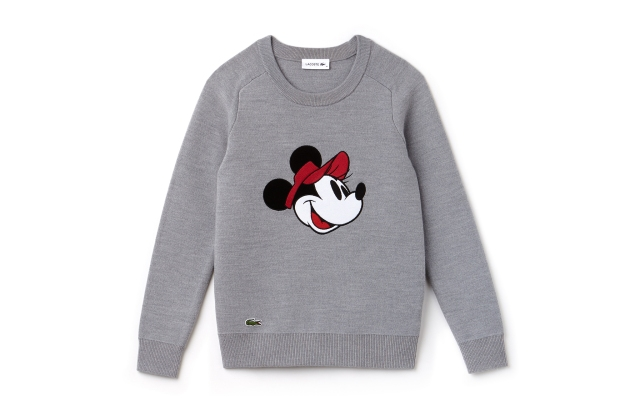 Minnie Mouse is featured on a Lacoste sweatshirt.
