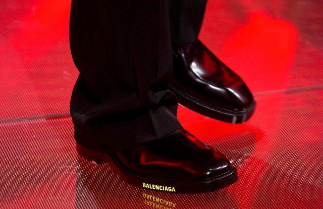 Balenciaga's LED Logo-ed shoes for spring 2019.