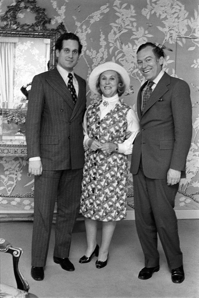 Estée Lauder with sons Ronald and Leonard.