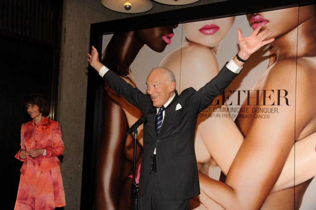 Leonard Lauder at an Estée Lauder Breast Cancer Awareness Campaign.