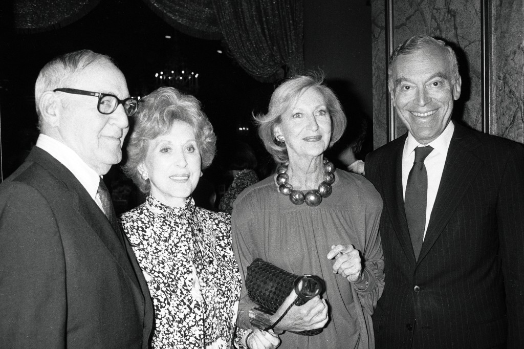 King of Swing Benny Goodman, Estée Lauder, Clinique founder Carol Phillips and Leonard A. Lauder at a CEW Lunch in 1986.