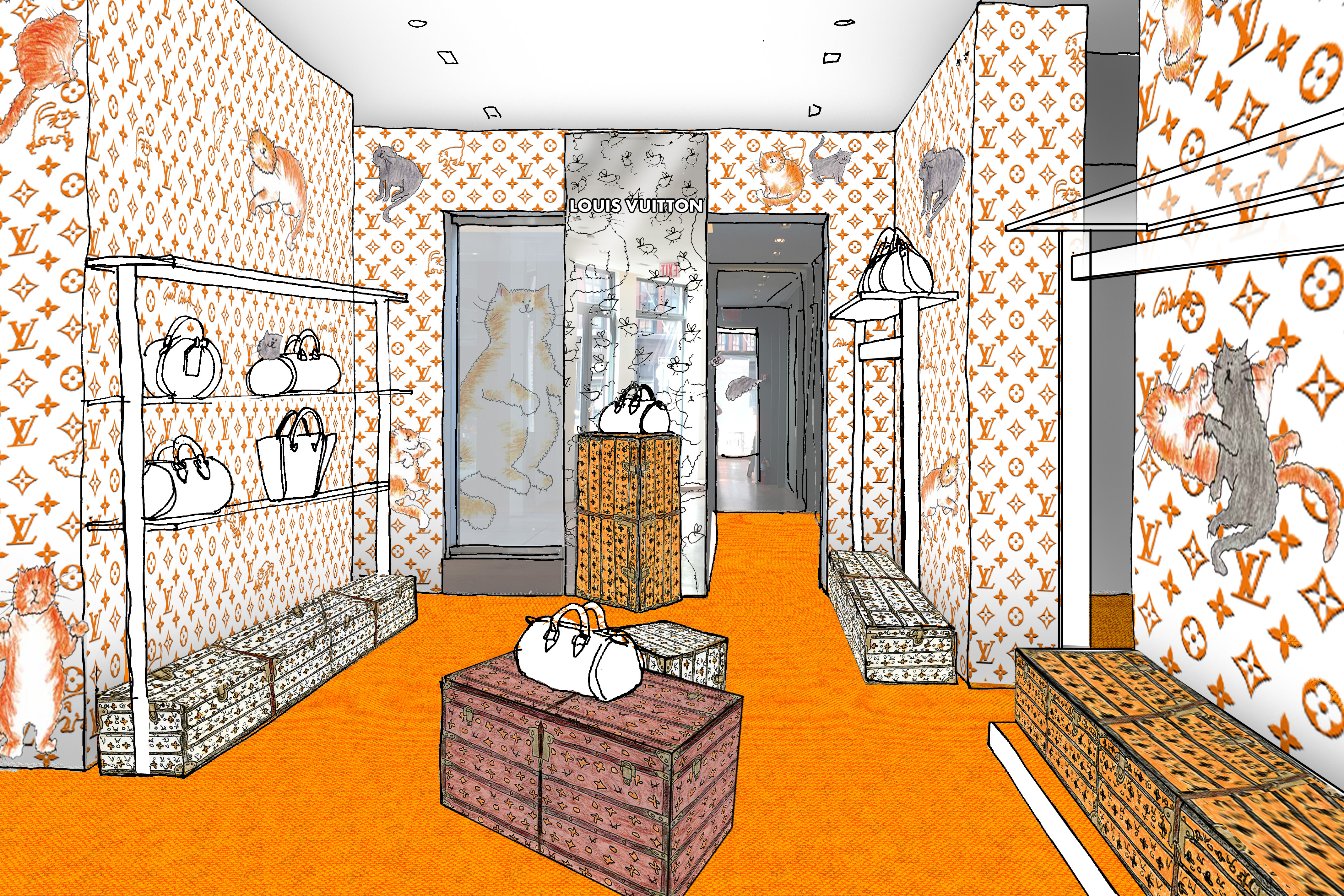 A rendering of the Louis Vuitton pop-up store in New York City's Meatpacking district.