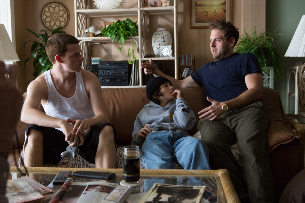 Jonah Hill discusses directional details with Lucas Hedges, who played Ian, the brother of Stevie, played by Sunny Suljic.