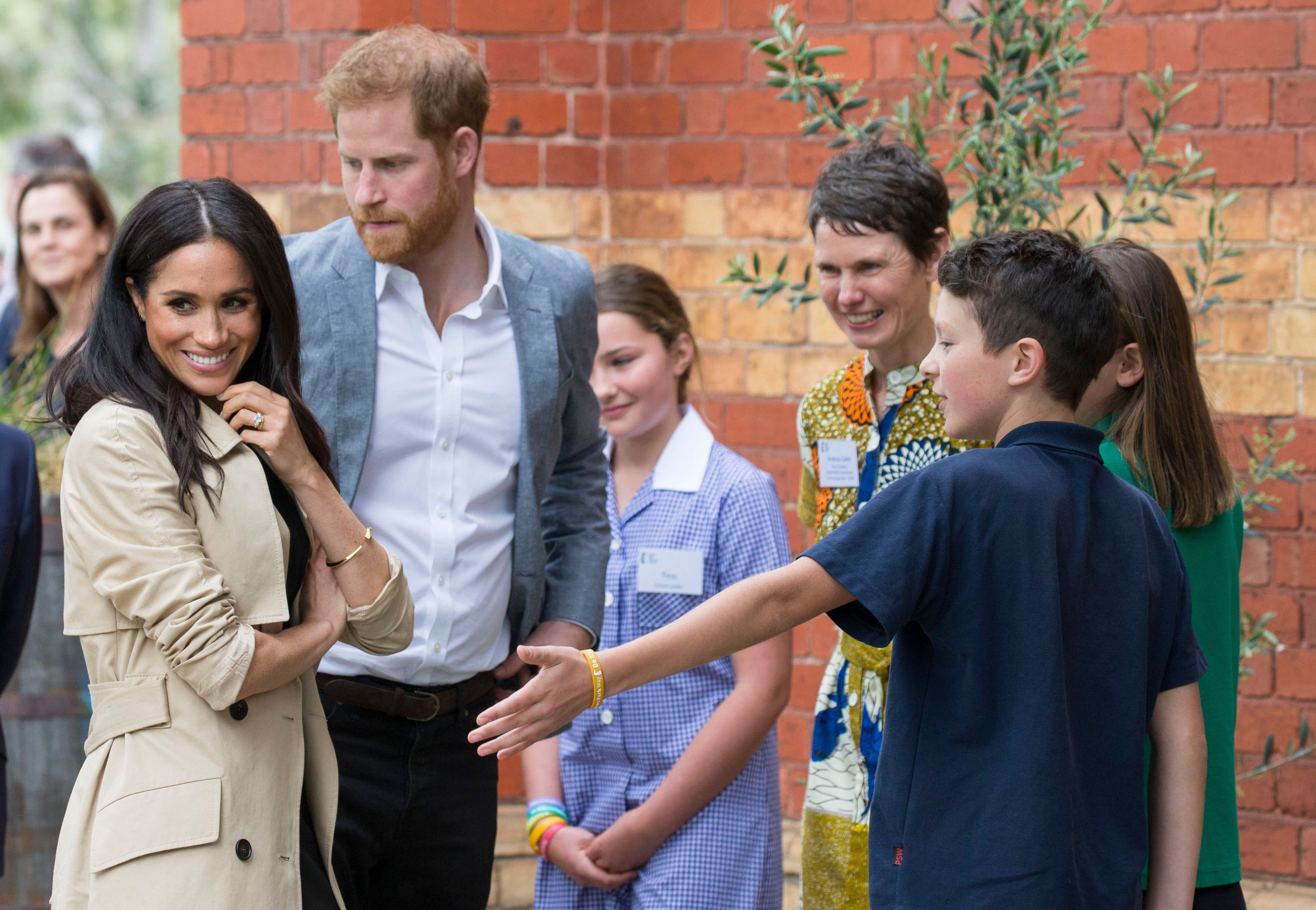 Meghan Duchess of Sussex and Prince Harry at Albert Park Primary School, MelbournePrince Harry and Meghan Duchess of Sussex tour of Australia - 18 Oct 2018