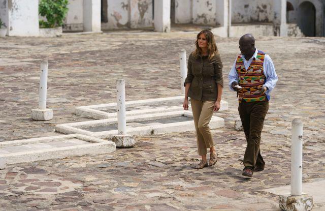Melania Trump tours Cape Coast Castle Wednesday.