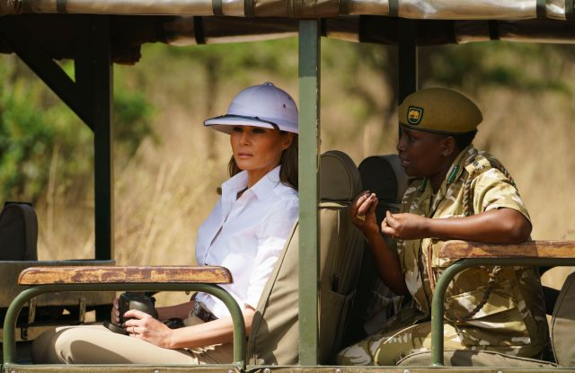 Melania Trump, Nelly Palmeris. First lady Melania Trump looks out over Nairobi National Park in Nairobi, Kenya, during a safari guided by Nelly Palmeris, right. Mrs. Trump is visiting Africa on her first big solo international tripMelania Trump Africa, Nairobi, Kenya - 05 Oct 2018
