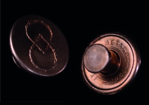 Metalbottoni's first copper button produced for Swedish denim brand reDEW8
