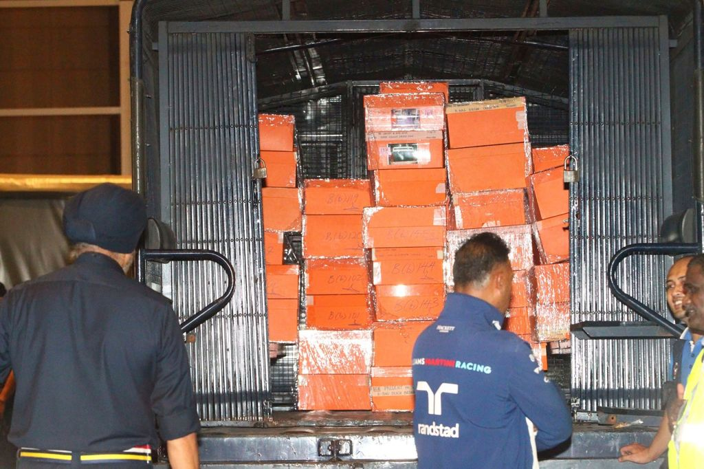 Boxes containing confiscated items are put inside a police truck in Kuala Lumpur, Malaysia . Malaysian police confiscated a few hundred designer handbags and dozens of suitcases containing cash, jewelry and other valuables as part of a corruption and money-laundering investigation into former Prime Minister Najib RazakCorruption, Kuala Lumpur, Malaysia - 18 May 2018