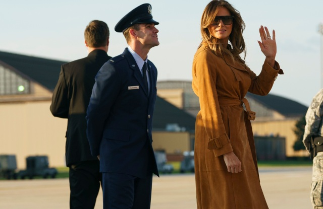 First lady Melania Trump boards a plane, in Andrews Air Force Base, Md., en route to Africa. Melania Trump heads for Africa on her first big solo international trip, aiming to make child well-being the focus of a five-day, four-country tourMelania Trump Africa, Andrews Air Force Base, USA - 01 Oct 2018