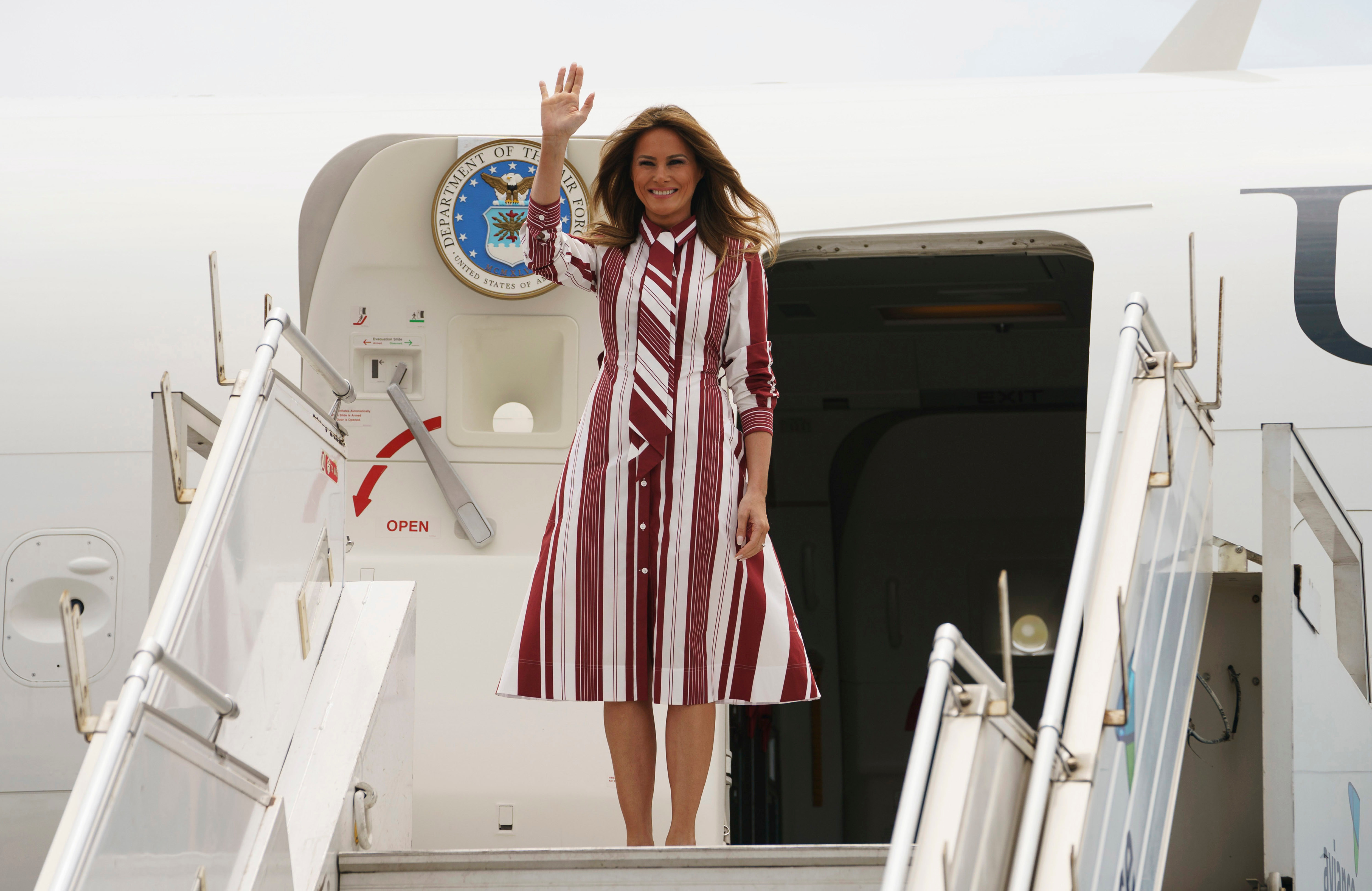 First lady Melania Trump arrives at Kotoka International Airport in Accra, Ghana, . Trump is visiting Africa on her first big solo international trip, aiming to make child well-being the focus of a five-day, four-country tourMelania Trump Africa, Accra, Ghana - 02 Oct 2018