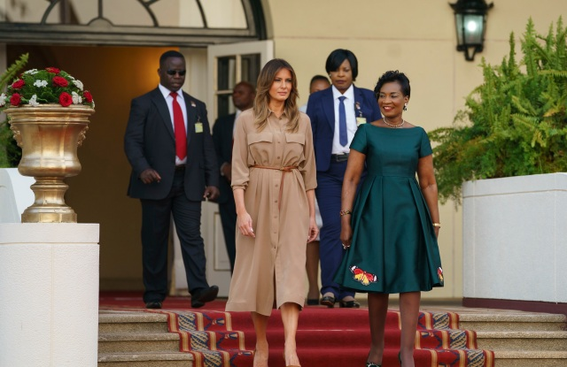 Melania Trump, Gertrude Maseko. First lady Melania Trump and Malawi first lady Gertrude Maseko arrive for a ceremony at the State House, in Lilongwe, Malawi, . Mrs. Trump is visiting Africa on her first big solo international trip, aiming to make child well-being the focus of a five-day, four-country tourMelania Trump Africa, Lilongwe, Malawi - 04 Oct 2018