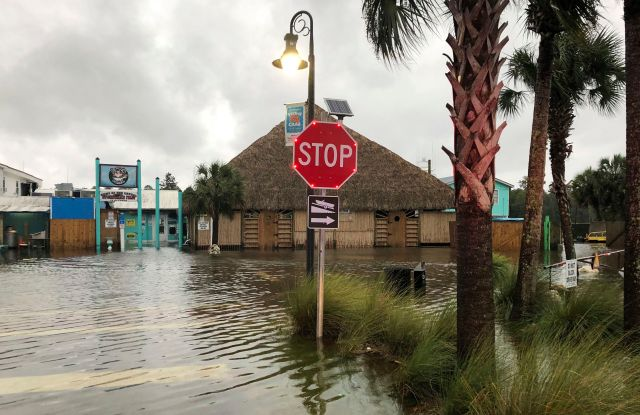 Flooding. The St. Marks River overflows into the city of St. Marks, Fla., ahead of Hurricane Michael, . The hurricane center says Michael will be the first Category 4 hurricane to make landfall on the Florida PanhandleTropical Weather, St. Marks, USA - 10 Oct 2018