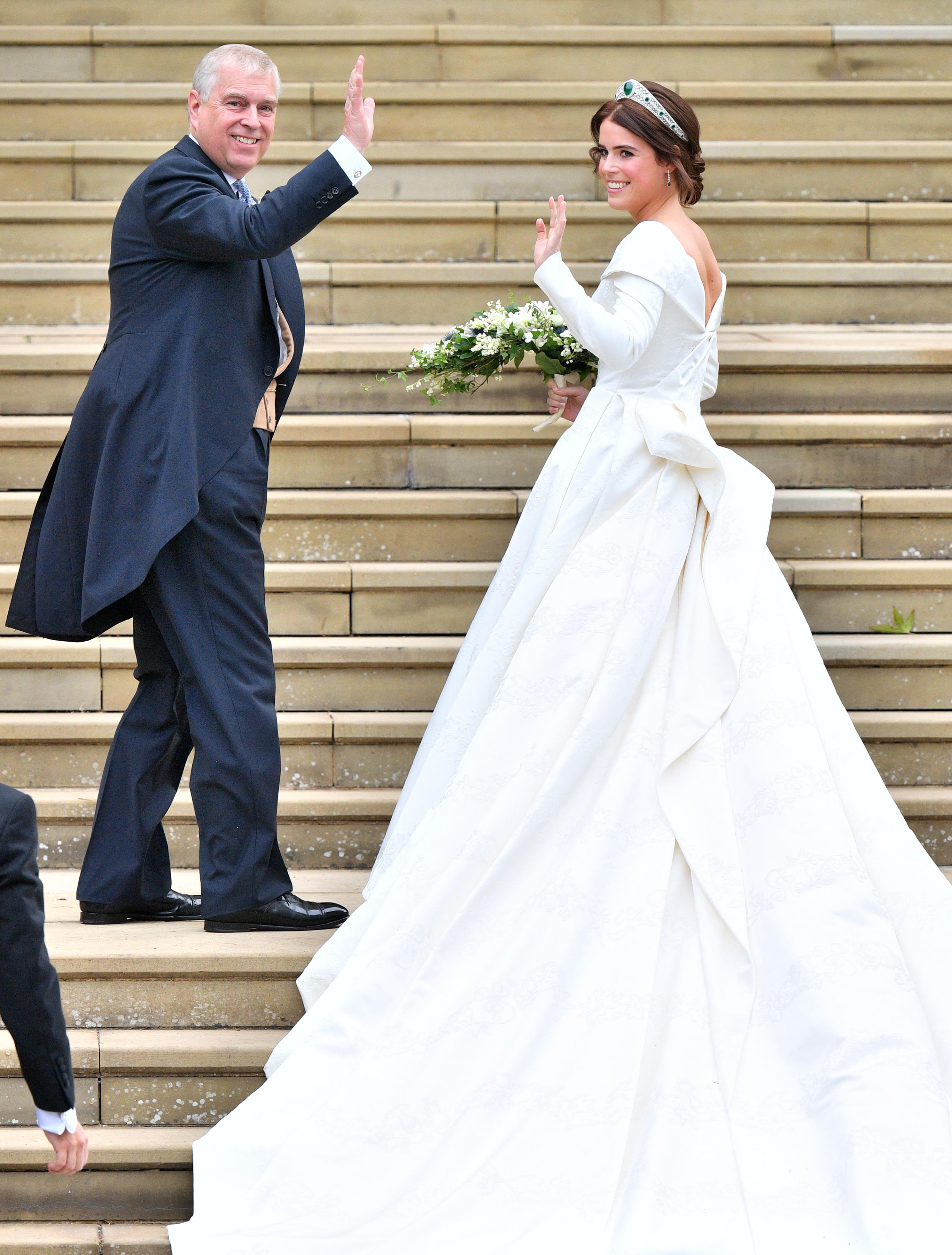 Prince Andrew and Princess EugenieThe wedding of Princess Eugenie and Jack Brooksbank, Pre-Ceremony, Windsor, Berkshire, UK - 12 Oct 2018WEARING PETER PILOTTO