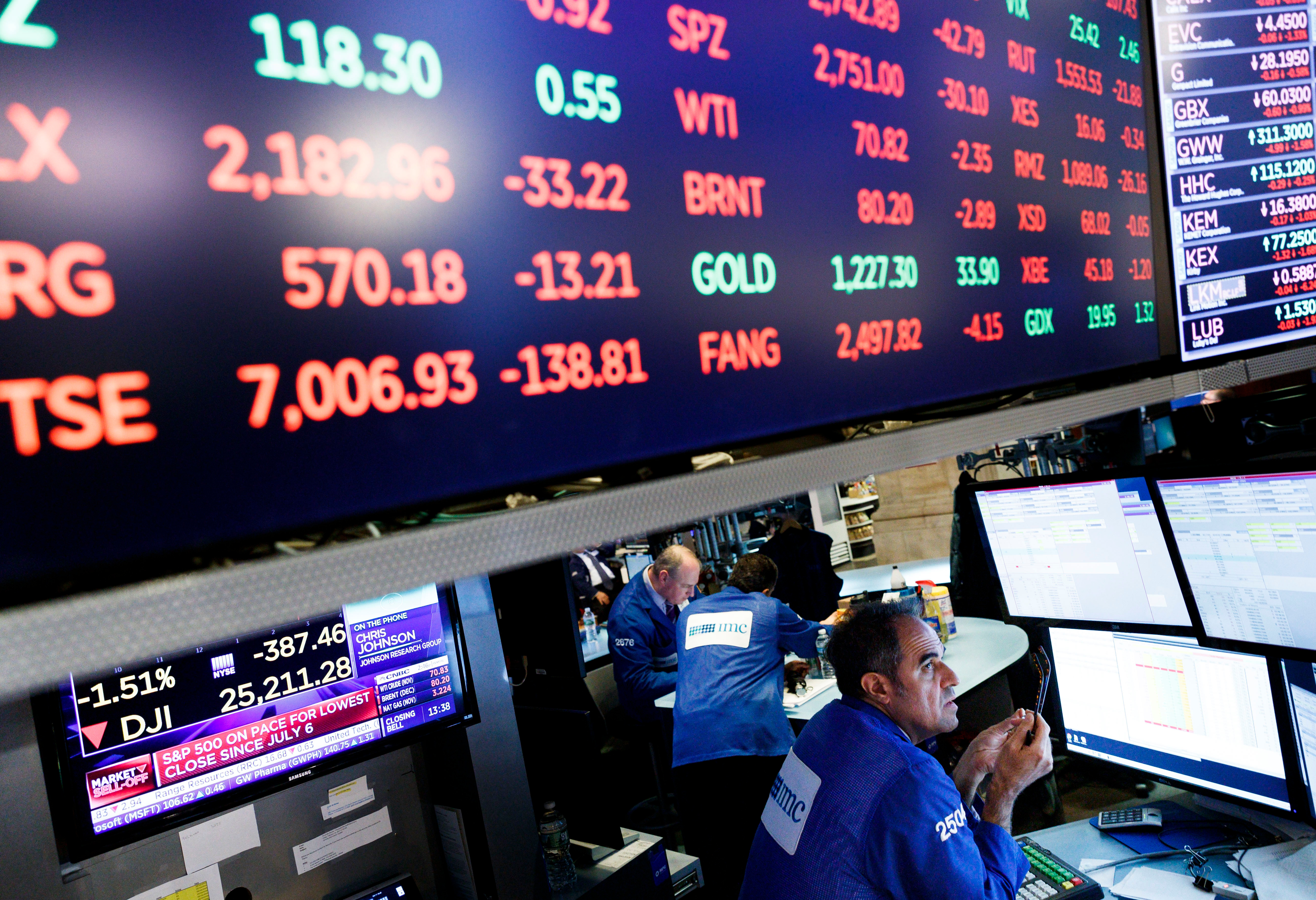 Traders work on the floor of the New York Stock Exchange in New York, New York, USA, on 11 October 2018. The Dow Jones industrial average lost nearly 550 points today.New York Stock Exchange, USA - 11 Oct 2018