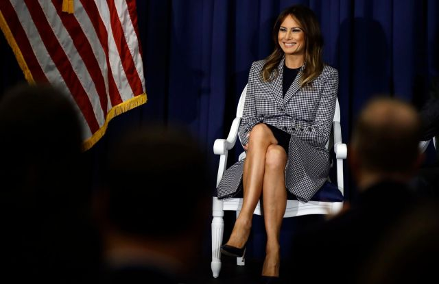 First lady Melania Trump during a visit to Thomas Jefferson University Hospital in PhiladelphiaMelania Trump, Philadelphia, USA - 17 Oct 2018
