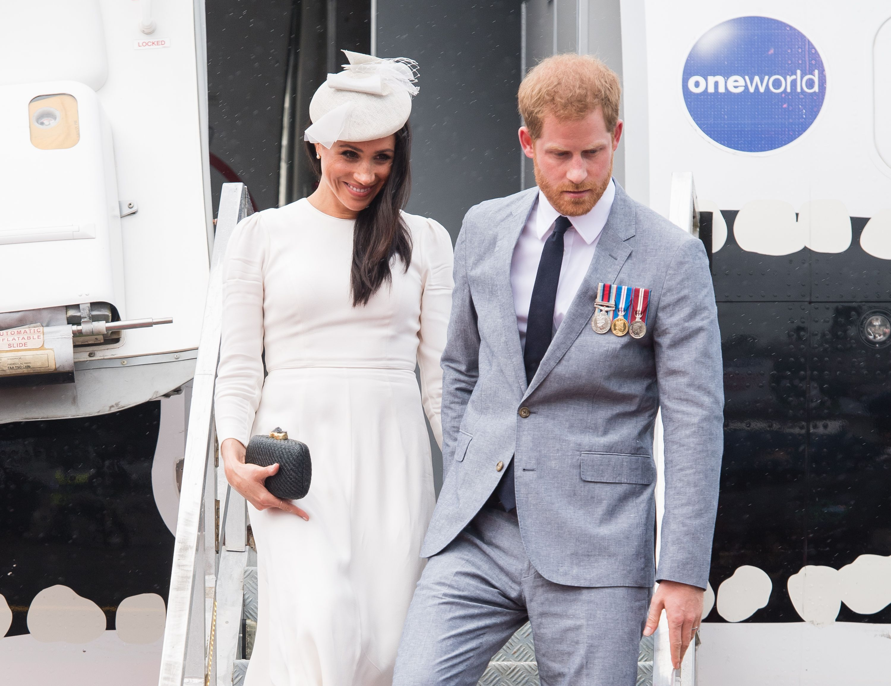 Prince Harry and Meghan Duchess of Sussex arrive at the University of the South Pacific in Suva, Fiji